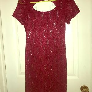 Maroon, backless sequin homecoming dress